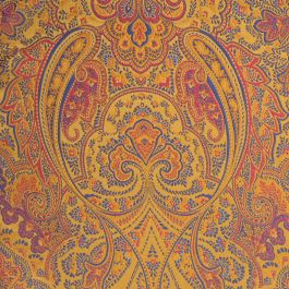 Makins Paisley Damask Fabric In Ochre With Multi Coloured