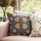 Angelica Ochre Yellow and Pink Floral Fabric
