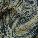 Blue and Green Paisley Linen Fabric