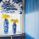Blue and White Roman Blinds