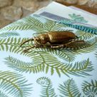 Bombe Olive Green and Blue Leaf Wallpaper