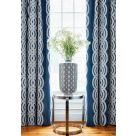 Braid Navy Blue Embroidered Curtain Fabric
