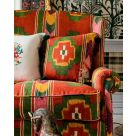 Erdely Red and Green Ikat Upholstery Fabric