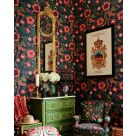 Dark Blue and Red Floral and Bird Wallpaper
