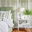 Green and White Geometric Fabric