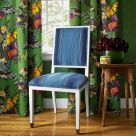 Green Floral Curtain Fabric