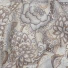 Grey Floral Linen Fabric