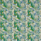 Hollyhock Embroidered Fabric Blue Green