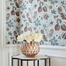Indienne Blue and Brown Floral Wallpaper