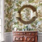 Lincoln Green and Beige Toile Wallpaper