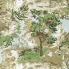 Lincoln Toile Wallpaper Green and Beige Tree