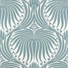 Lotus Wallpaper Pointing Oval Room Blue