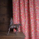 Red Leaf Print Linen Fabric