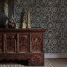 Oxus Brown and Blue Patterned Wallpaper