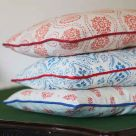 Paisley Sprig Red Floral Printed Linen Cushions
