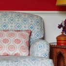 Polonaise Blue Printed Linen Occasional Chair
