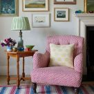 Polperro Red Printed Linen Occasional Chair