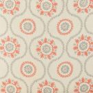 Suzani Linen Fabric Grey Clementine Coral Pink