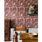 The Enchanted Woodland Dark Red Patterned Wallpaper