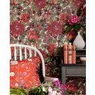 The Flowering Green and Red Large Floral Wallpaper