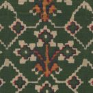 Zold Linen Fabric Green White Yellow Abstract