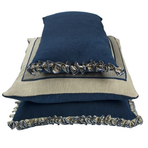 Blue Frilled Oblong Cushion