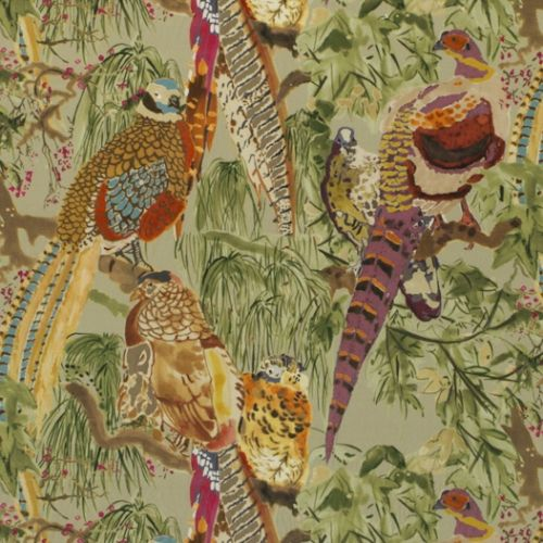 Game Birds Velvet Fabric