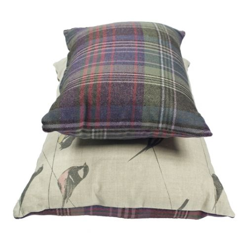 Garden Birds Linen and Tartan Cushion Set