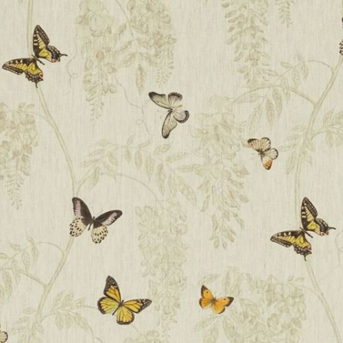 Wisteria & Butterfly Linen Fabric