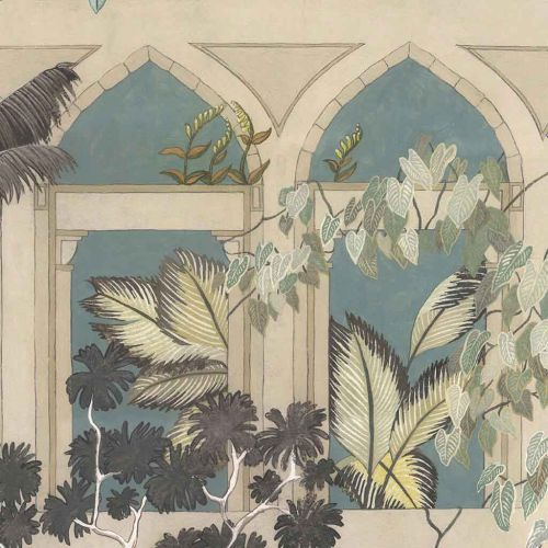 Abandoned Arches Wallpaper Celadon Blue Stone