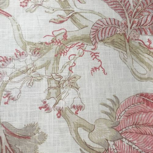 Rose Red and Green Print Fabric