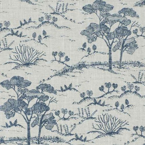 Agriculture Toile Fabric Navy Blue