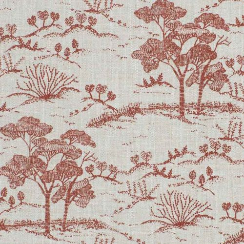 Agriculture Toile Fabric Red