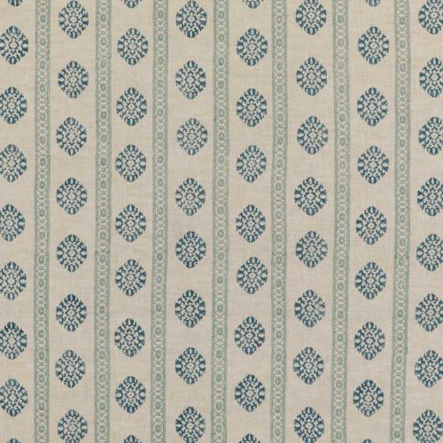 Alma Duck Egg Blue and Navy Printed Fabric