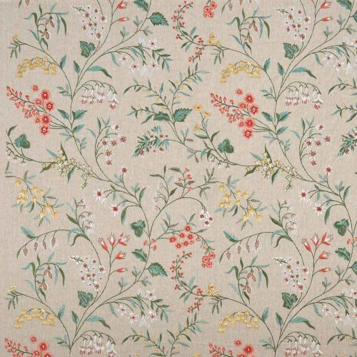 Almora Embroidered Fabric Red Yellow Floral