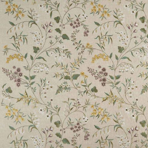Almora Embroidered Fabric Yellow Purple Green Floral