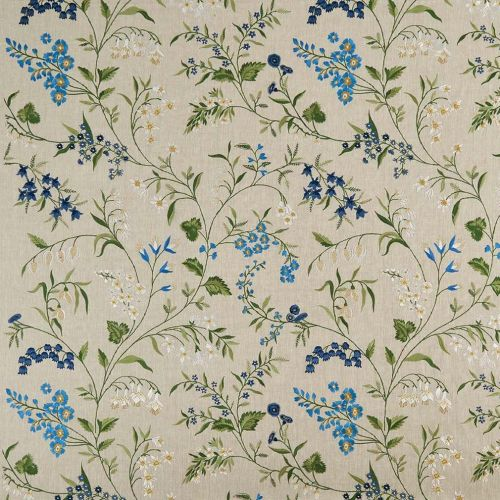 Blue Floral Embroidery Fabric