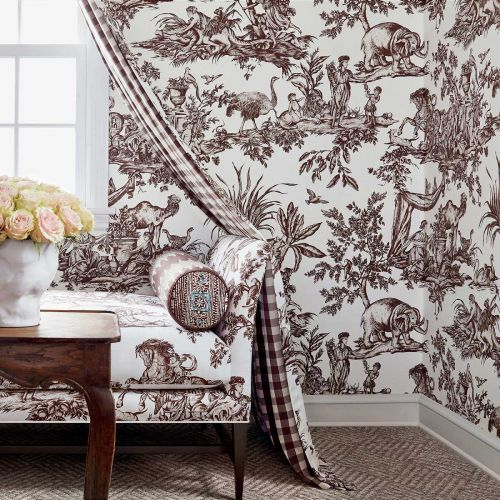 Antilles Brown Toile Fabric