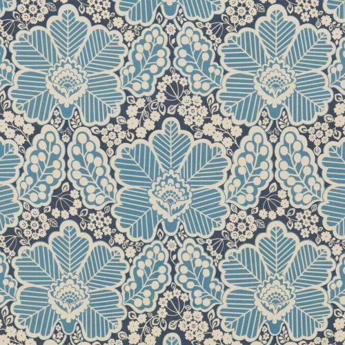 Arbour Cotton Fabric Indigo Blue Floral