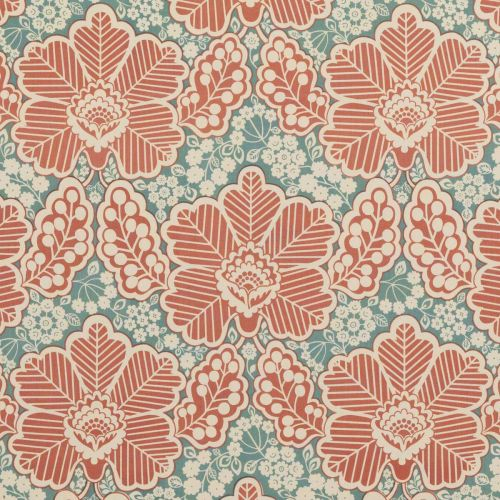 Arbour Cotton Fabric Rustic Red Blue Floral
