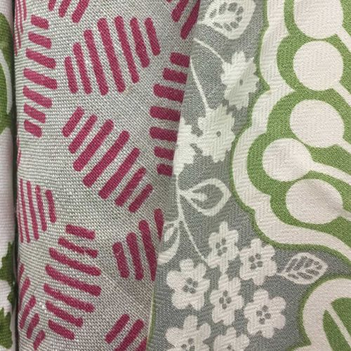 Arbour Green and Grey Cotton Fabric