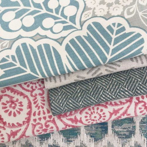 Arbour Turquoise and Grey Cotton Fabric