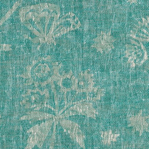 Astrea Linen Fabric Green Blue Turquoise floral