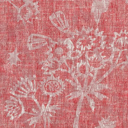 Astrea Linen Fabric Red Floral