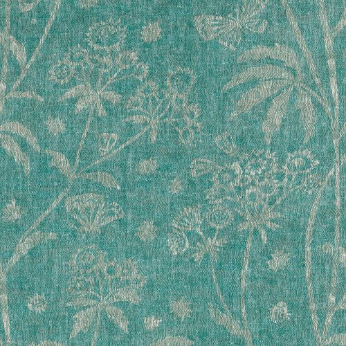 Astrea Turquoise Floral Linen Fabric