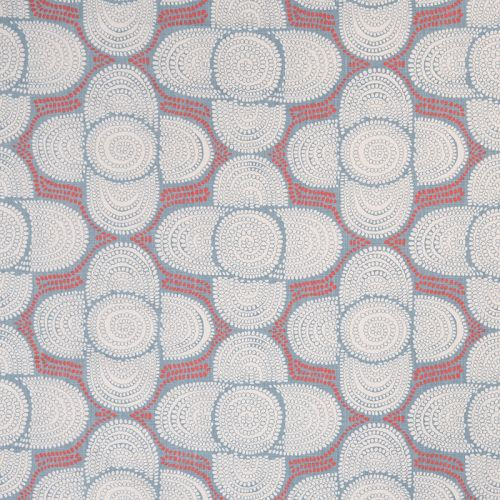 Azteque Linen Fabric Coral Red Blue