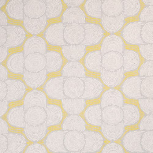 Azteque Linen Fabric Pale Blue Yellow Grey