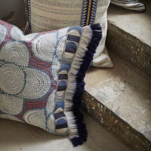 Azteque Red and Blue Linen Fabric