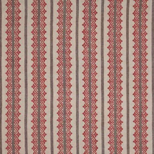 Basholi Linen Fabric Red Striped Printed