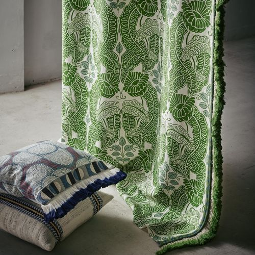 Green Printed Linen Fabric